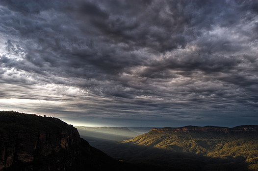 Approaching storm at sunset, Blue Mountains